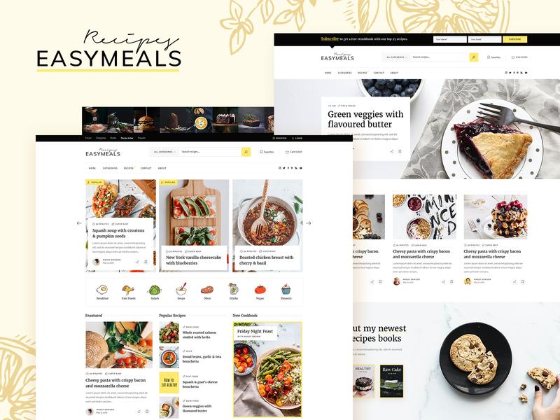 EasyMeals - Food Blog WordPress Theme magazine personal blog community modern yellow landing page website mockup responsive ui ux layout theme wordpress food bloggers food blog recipes
