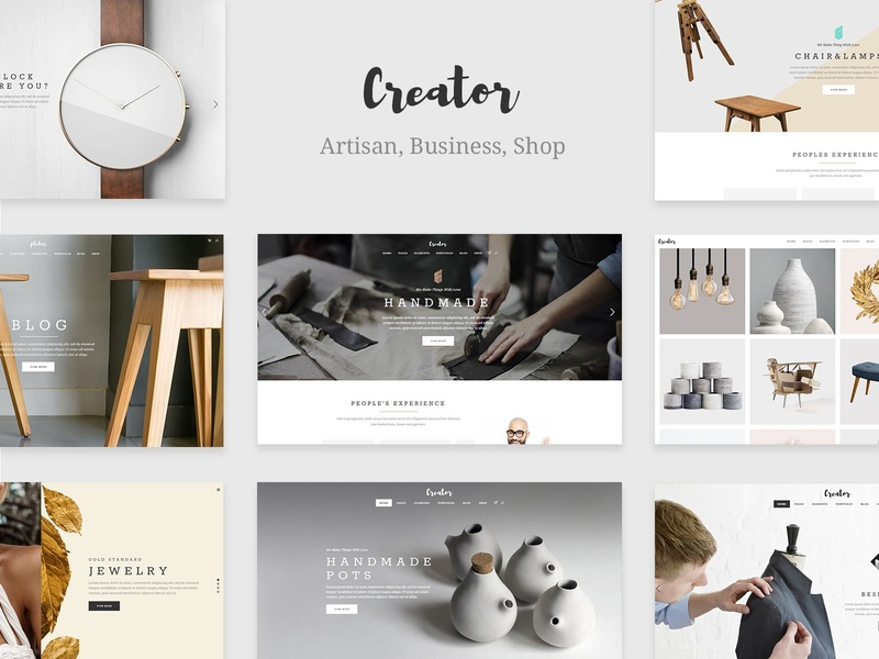 Creator - Theme for Handmade Artisans tailor showcase fashion shop jewelry furniture fashion store ceramics carpentry business blog arts and crafts art portfolio web design template responsive layout theme wordpress