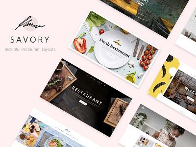 Savory - Restaurant Theme showcase restaurant food blog food diner cooking blog cafe bistro bar web design template responsive layout theme wordpress