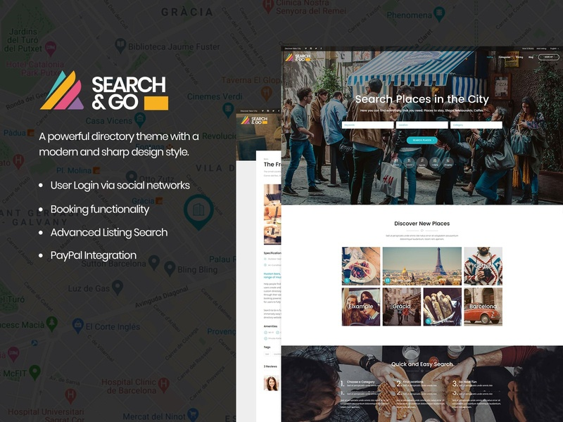 Search & Go - Directory WordPress Theme directory listing directory booking web design template responsive layout theme wordpress