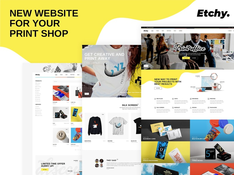 Etchy - Print Shop WordPress Theme studio retail print shop ecommerce digital agency design agency creative agency creative web design template responsive layout theme wordpress
