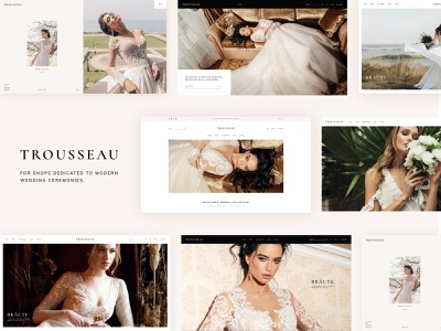 Trousseau - Bridal Shop WordPress Theme landing page ux ui web design theme wordpress minimal elegant modern wedding bridal boutiques