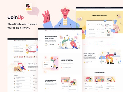 Join Up - BuddyPress Community Theme community websites community websites modern illustration creative landing page ui ux theme wordpress events shop blog social network forum buddypress