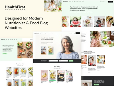 HealthFirst - Nutrition and Recipes Theme health modern landing page website mockup ux ui web design theme wordpress podcast coaching