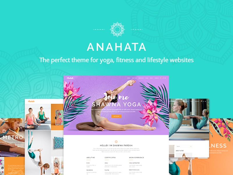 Anahata website sport meditation yoga lifestyle health fitness colorful design template landing page responsive layout website mockup ux ui theme wordpress