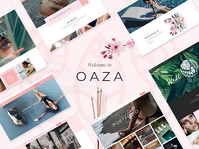 Oaza product design portafolio resort lifestyle pink beauty center beauty salon beauty wellness spa responsive template webdesign layout website mockup wordpress ux ui theme