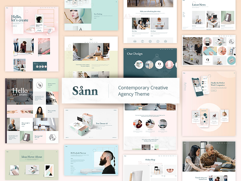 Sånn pastel theme ui ux wordpress website mockup layout webdesign template creative agency design portfolio creative agency designer branding architechture digital business responsive