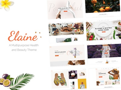 Elaine theme ui ux wordpress website mockup layout webdesign template landing page responsive design modern wellness lifestyle beauty spa beauty salon makeup skincare nutritionist
