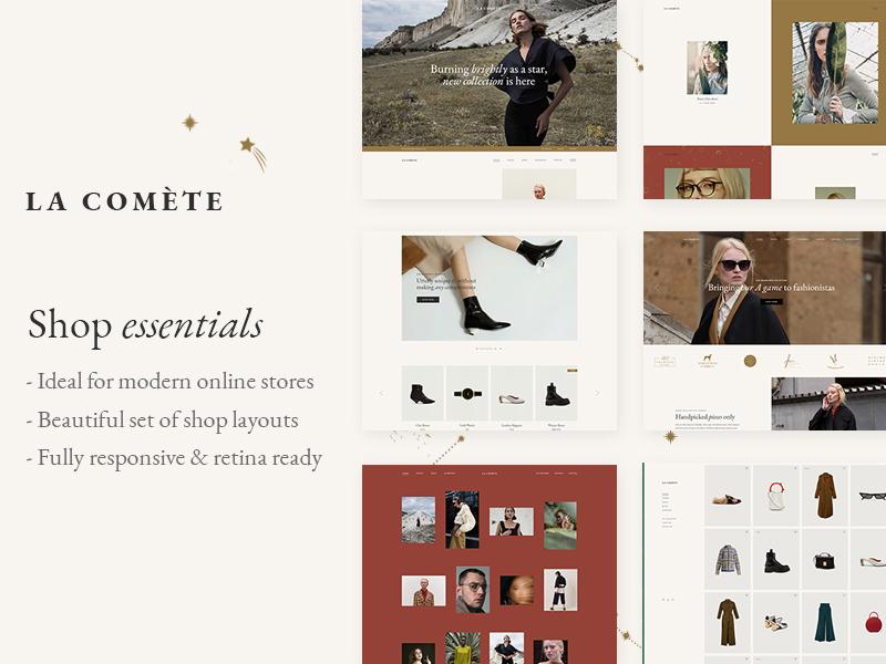 La Comète fashion designer lookbook ecommerce woocomerce theme ui ux wordpress website mockup webdesign layout template landing page responsive fashion fashion brand elegant boutique fashion blog clothing