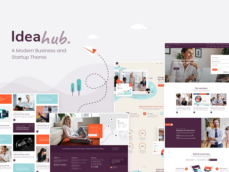 Ideahub app design professional business finance consulting landing page template webdesign layout website mockup wordpress ui ux theme digital startup technology tech agency showcase
