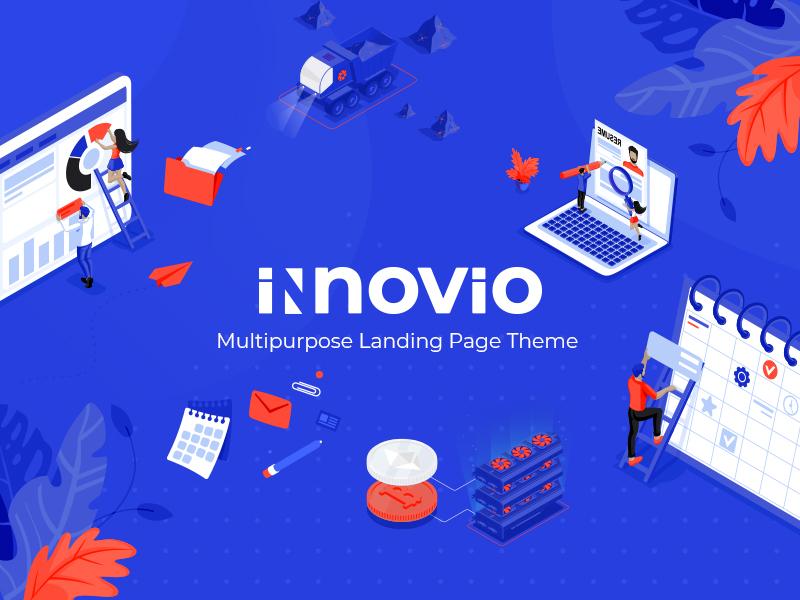 Innovio marketing seo animation agency vectors saas digital studio startup mobile app illustration flat web design responsive landing page layout website mockup wordpress ux ui theme