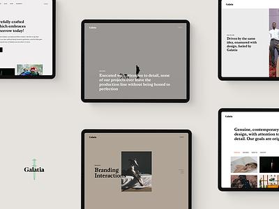 Galatia minimal web design typography studio landing page ux ui theme portfolio creative agency website mockup wordpress designer template responsive layout branding digital photography