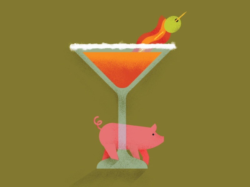 bacon martini by jehoaddan kulakoff dribbble