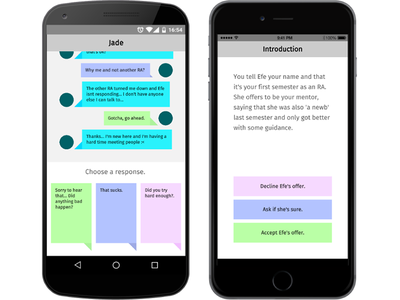 SenseU, redesigned messaging chat neon mobile cute text-based narrative app game