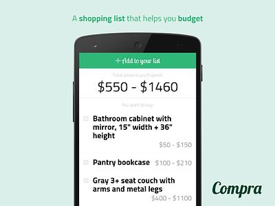 Shopping list app design shopping list todo to-do to do range budget list