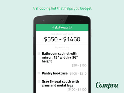 Shopping list app design