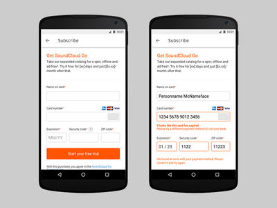 SoundCloud Go purchase experience android mobile checkout purchase