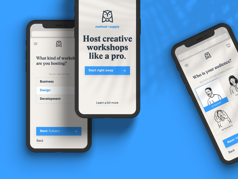 Method Supply Onboarding platform host workshop minimal web flat typography brand design ui ux