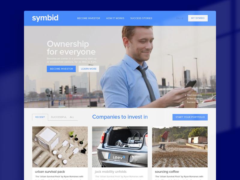 Symbid — Crowdfunding crowdfunding platform web ux ui design