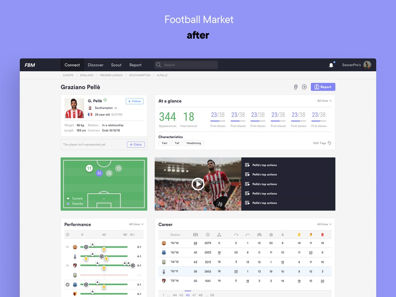 Football Market — Player Profile Redesign football soccer data redesign ux ui design