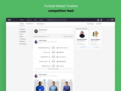 Football Market — Timeline social network football soccer app platform web ux ui design