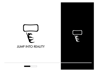 Jump Into Reality interactive media interactive clever simple double meaning abstract negative space glasses jump virtual reality ar vr brand identity identity branding brand logo
