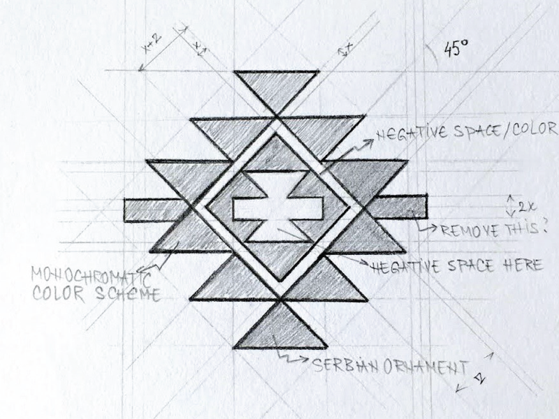 Folkloric Ensemble Logo authentic paper sketches logosketch sketch gridding grid folkloric serbian serbia