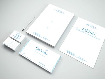 Look and Cook Stationery Design modern blue minimalist minimal elegant logos logo letterheads letter letterhead vouchers voucher menu design menu bar menu card menubar menu stationery mockup stationery design stationery