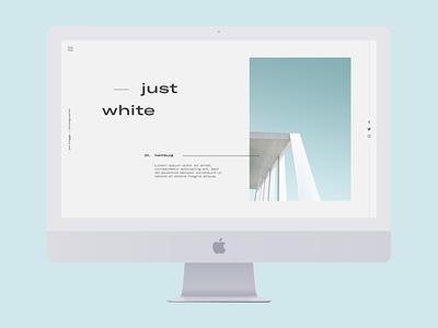 Just White wip blue white website web ux ui responsive minimalism minimal mac grid editorial desktop design concept clean blog article