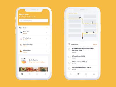 SmilesMarket™️ wip white responsive ux ui yellow mobile minimalism minimal mac grid editorial desktop app design clean blog article concept app