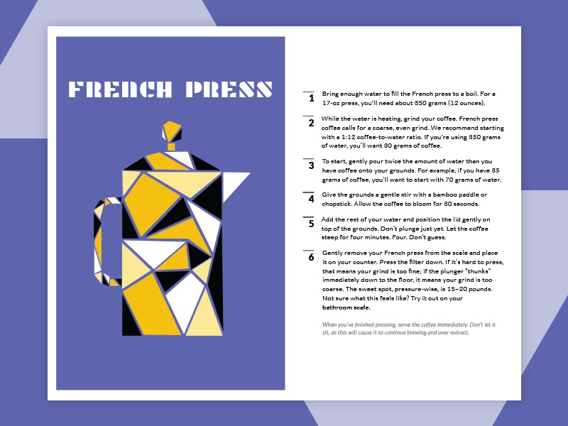 French Press Instructions brew coffee brewing brewing instructions flat french french press coffee