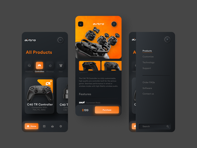 Astro Gaming App dailyux mobile app design orange controller astro gaming app neomorphism neomorphic branding black vector dailyui web typography ux digital ui design