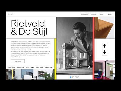 Rietveld & De Stijl Site Exploration. brutalism destijl red blue website dailyux minimal web typography dailyui digital ui ux design