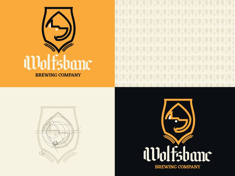 Wolfsbane Brewery wolf brand and identity beer logo brewery design typography icon illustration branding logo vector