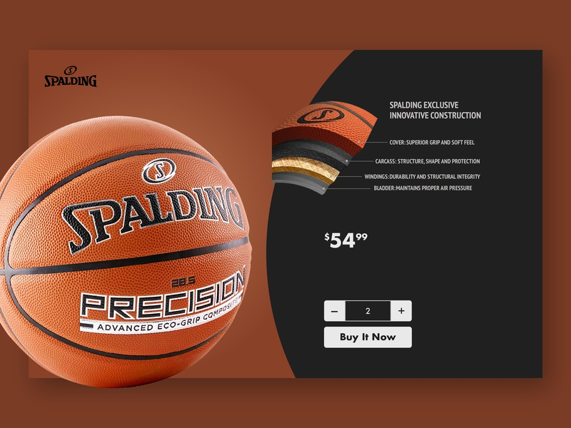 Spalding e-commerce page UI flat commerce page home page e-commerce ux  ui debut ball basketball spalding illustration animation app design website web landing page ux ui shot first