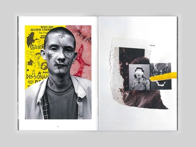 Human void skins retro magazine fanzine oltre blood yellow skinhead collage