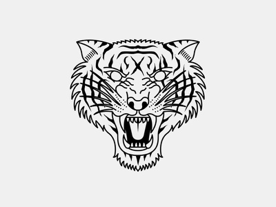 Blind tigers simmetry blind vector logo flat tiger