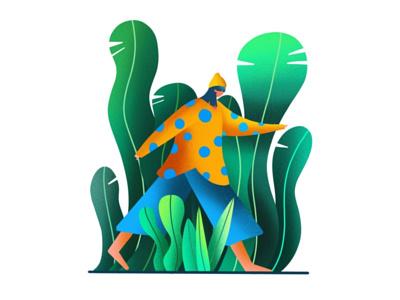 Walking in the jungle ipad pro art design ipad pro illustration
