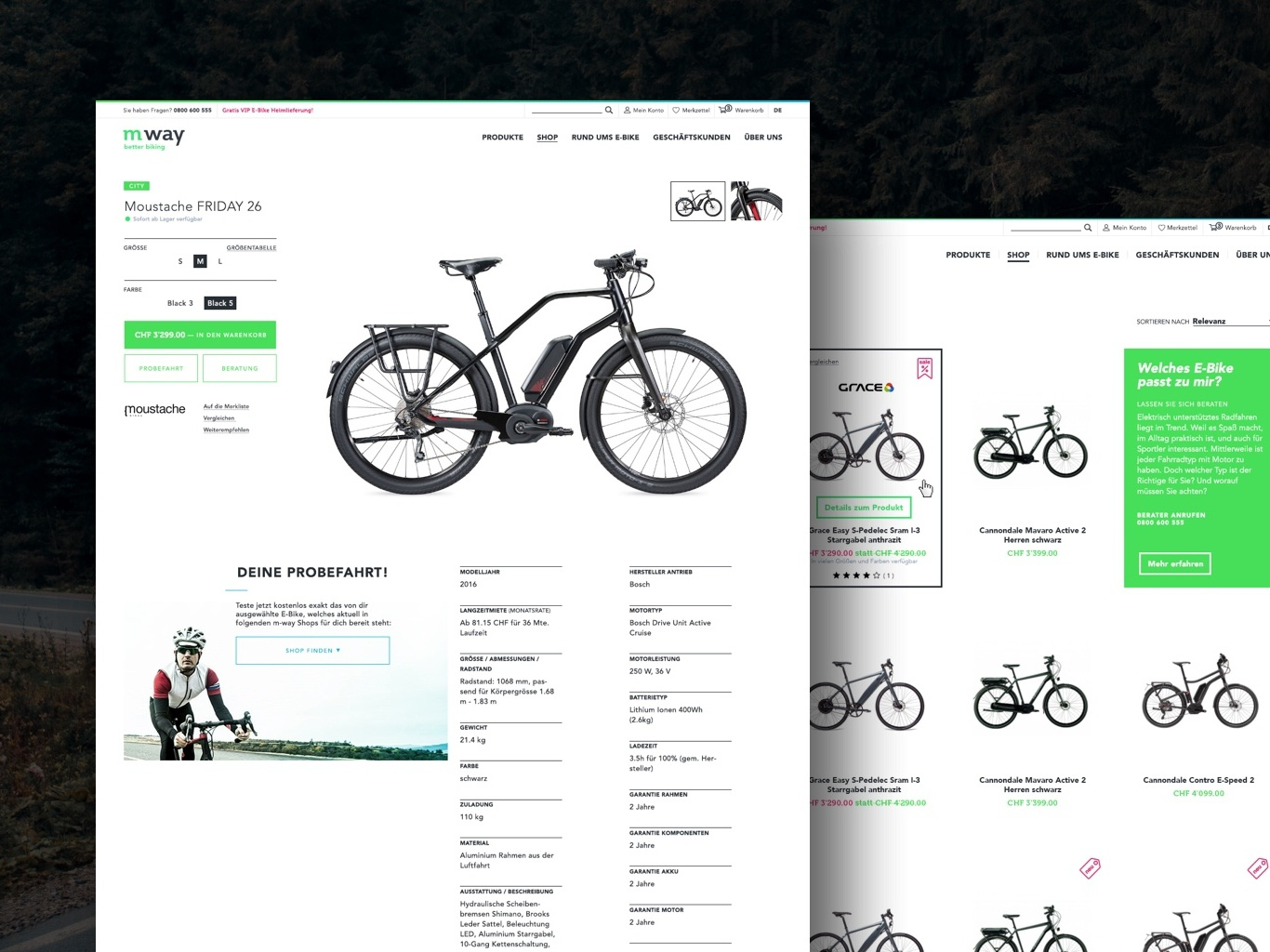 mway E-commerce Detail digital biking ecommerce uidesign desktop design