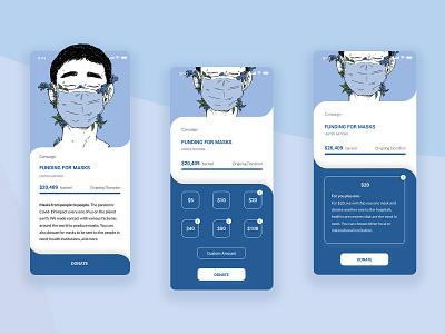 Crowdfunding App daily ui 032 daily ui donate corona virus covid-19 mask concept crowdfunding campaign app ui