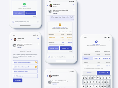 Nivoda app - Chat Initiation - Customer <> Supplier offer business interface product supplier customer multiple choice customization orders service app ux mobile design chat chat app concept e-commerce b2b app