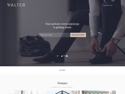Walter Events - Landing page concierge planning events landing page profile venue business page reservation flat user interface web design user experience cynthia irani