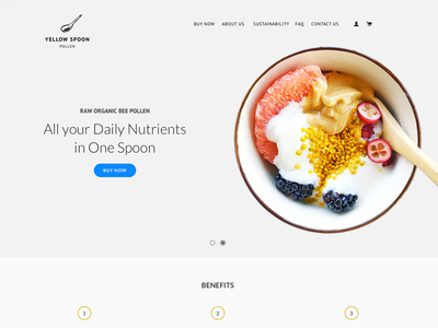 Yellow Spoon Pollen - Landing Page - hero shot WIP branding food photography superfood shopping landing page buy food online ecommerce flat user interface web design user experience 2016 cynthia irani