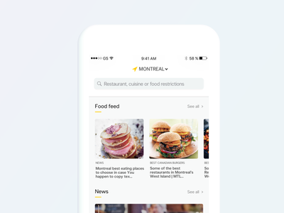 Nectar - yp canada cynthia irani ui ux order feed reservation mobile minimalist interface restaurant home clean design app 2017