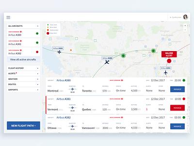 Fleet management app cynthia irani ui ux fleet manager flight aircraft airline alert flight plan clean interface minimalist app 2017