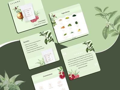 Green Elixir web design floral ad post carousel graphic design branding colors design