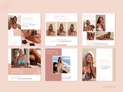 Social media post designs pt.1 / Cocosolis web design ads ad design post design social media campaign graphic design colors design