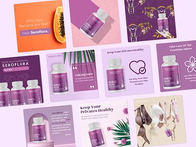 SEROflora - Social Media Design figma ads graphic design visual design marketing marketing agency post media social ad advert advertising branding abstract 2d colors design