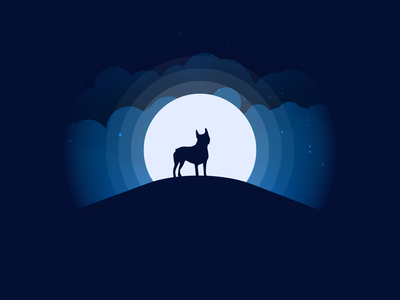 Boston Terrier Moonlight flat clouds illustartion illuminated illustrator moonlight boston terrier vectary vector vector art