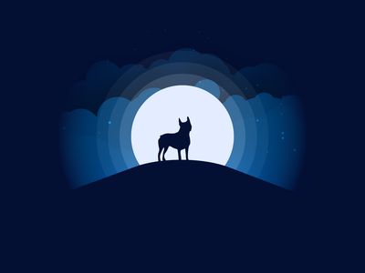 Boston Terrier Moonlight flat clouds illustartion illuminated illustrator moonlight boston terrier vectary vector vector art